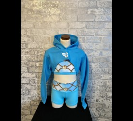 Blue Super Cropped Hoody