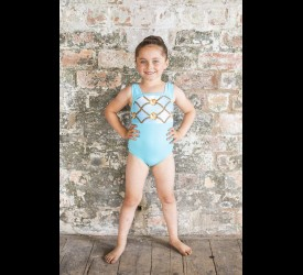 Aqua Chain Bow Strap Leotard