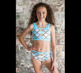 Aqua Bow Strap Crop Top