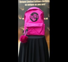 Kids Fushia Rucksack With Pom