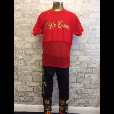Style Queen Red Mesh Panel T Shirt