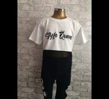 Style Queen White Contrast Mesh T shirt