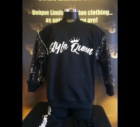 Style Queen Black Sequin sleeved Crew Neck Jumper