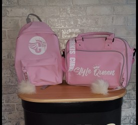Kids Baby Pink Rucksack With Pom